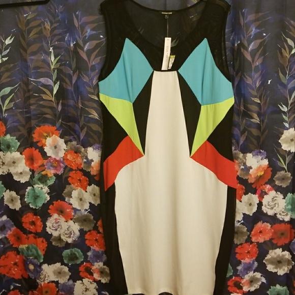 GOODTIME Dresses & Skirts - GOODTIME SHEER PANEL COLORFUL DRESS